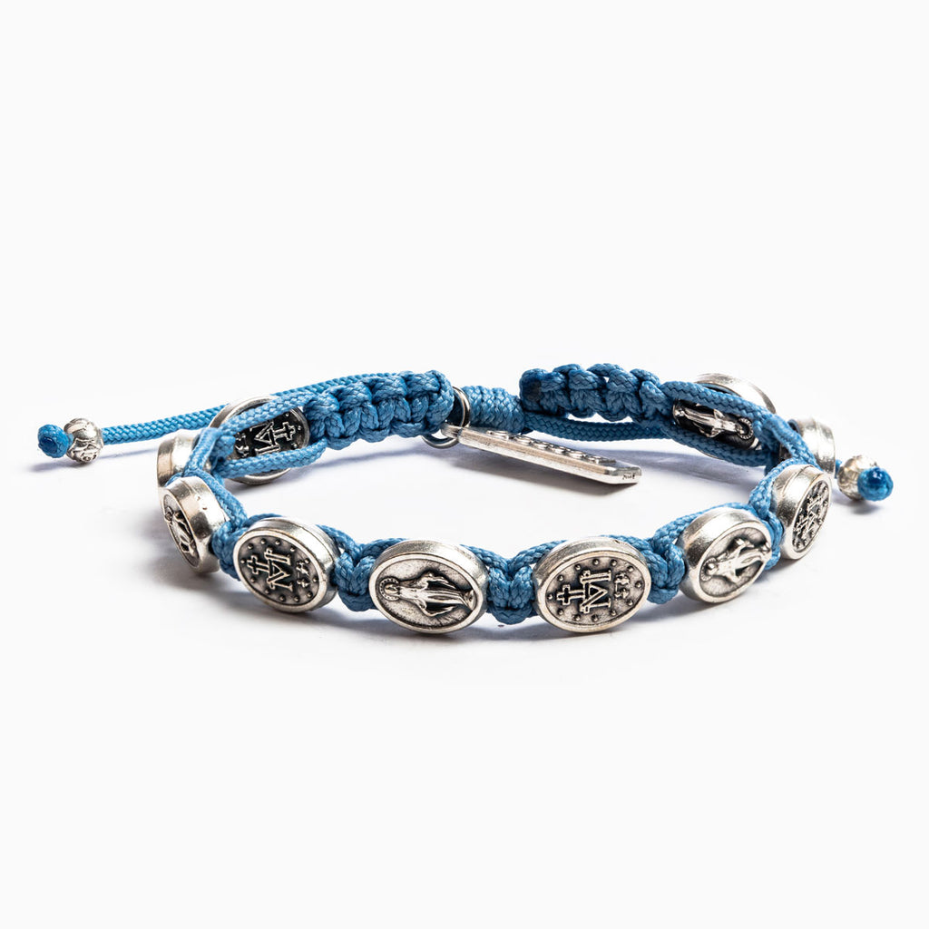 My Saint My Hero Miraculous Mary Blessing Bracelet, Adjustable (Silver Dipped Medals on Light Blue Cord)