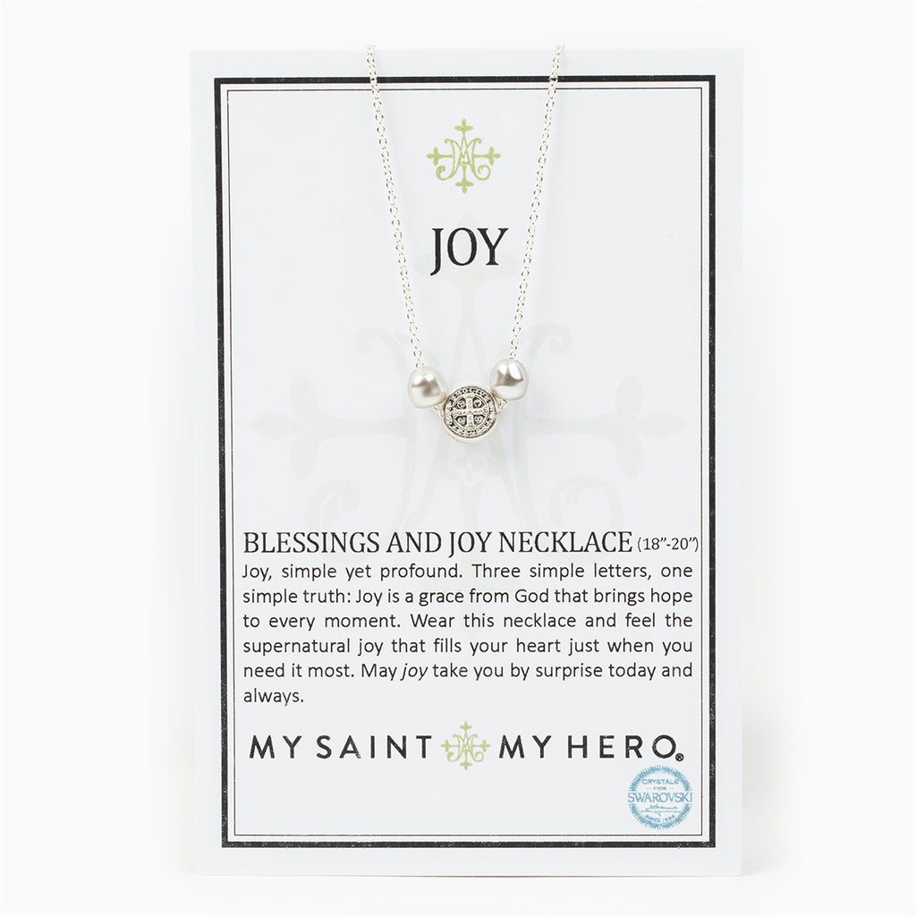 My Saint My Hero Blessings And Joy Necklace, Adjustable (Silver Plated)