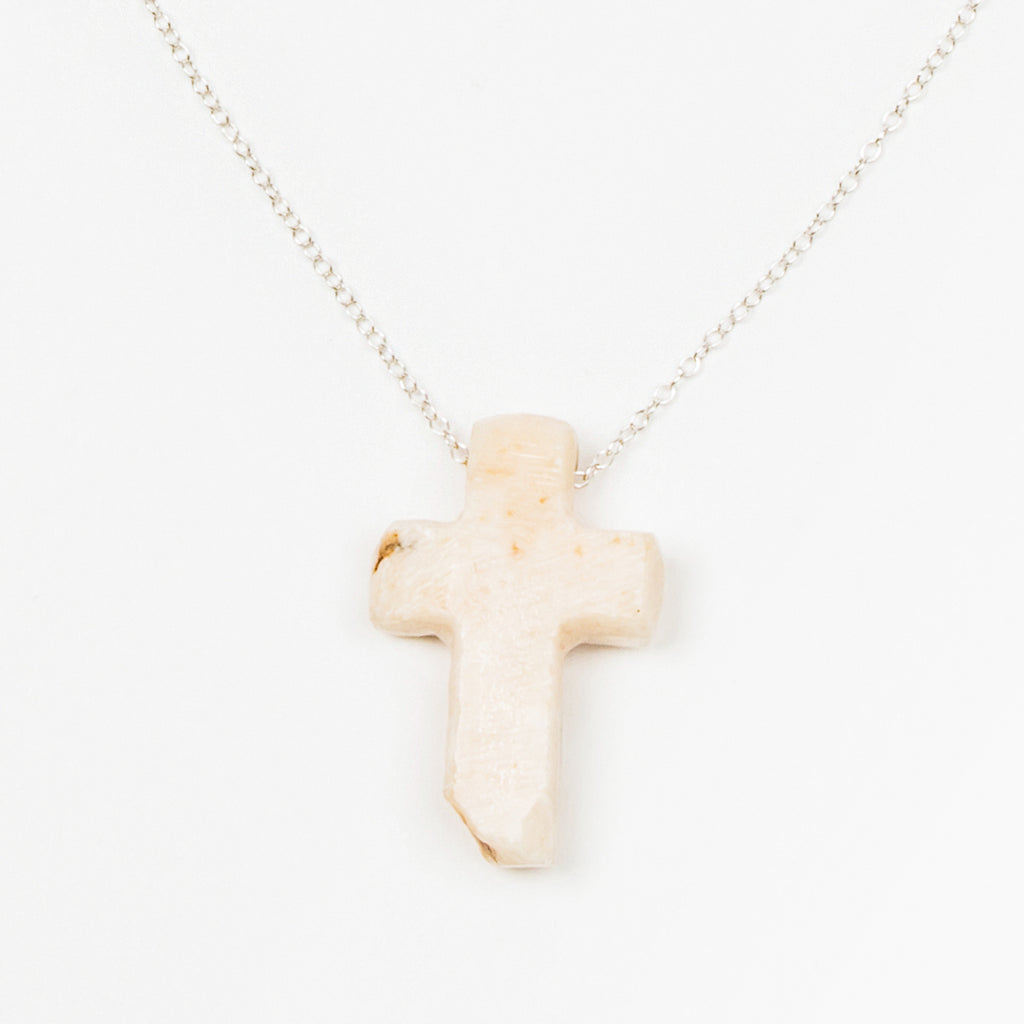 My Saint My Hero Cornerstone Stone Carved Cross Necklace (Sterling Silver)