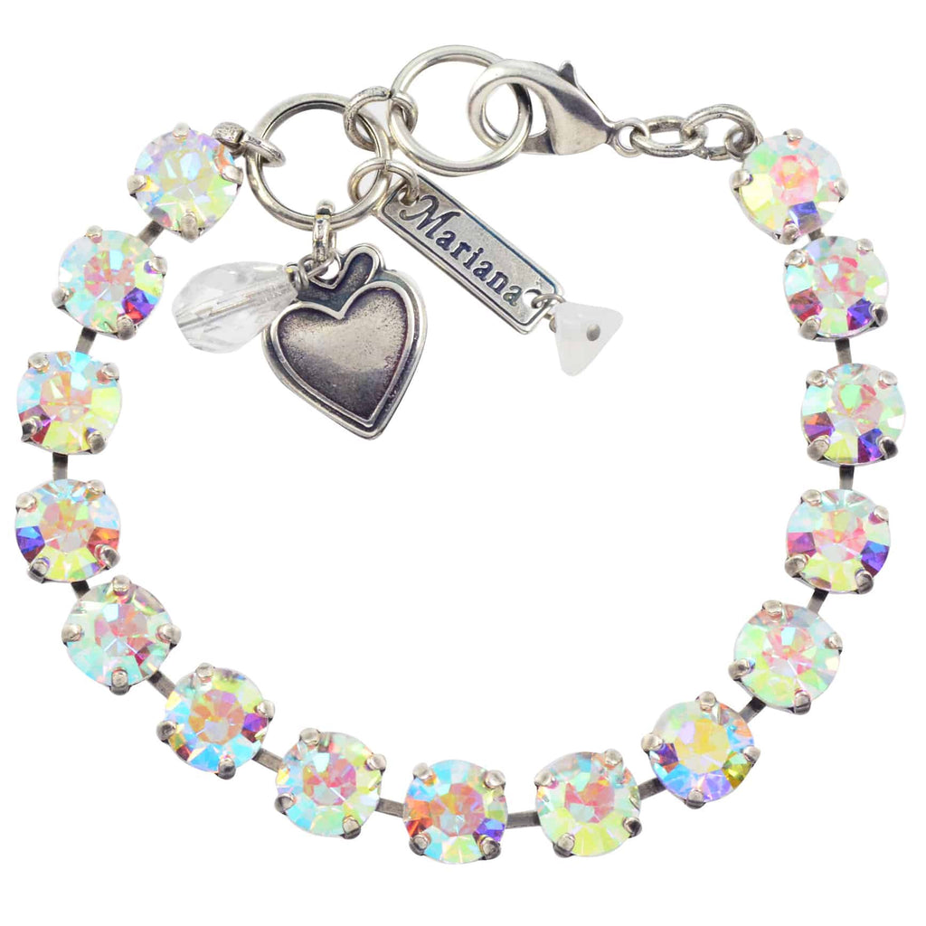Mariana Jewelry On A Clear Day Tennis Bracelet, Silver Plated with Aurora Boreale Swarovksi Crystal, 8 4252 001AB