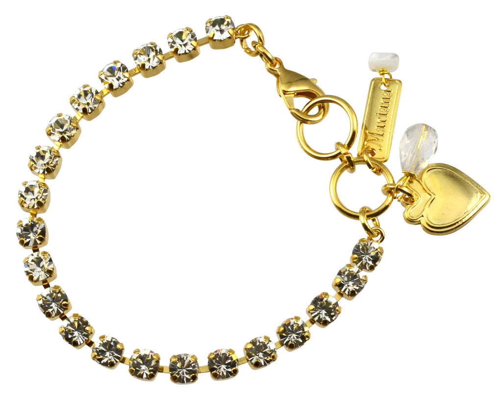 Mariana On A Clear Day Gold Plated Swarovski Crystal Tennis Bracelet with Heart Pendant, 8