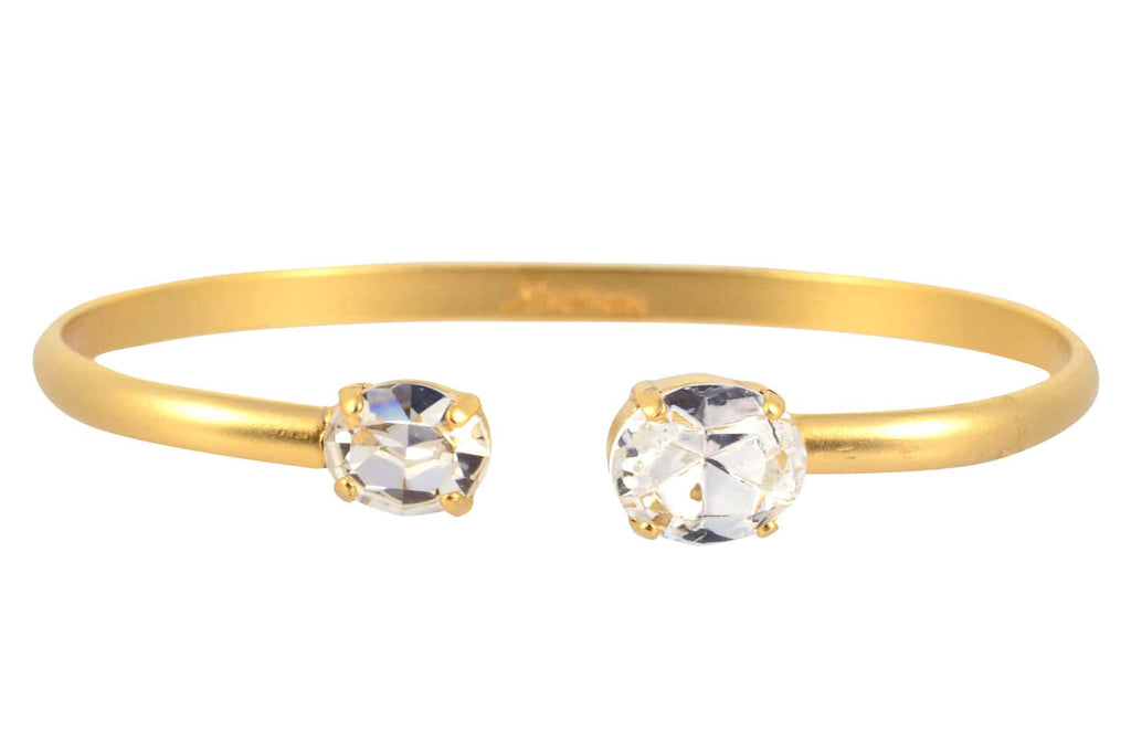 Mariana Jewelry On A Clear Day Oval Bangle Bracelet, Gold Plated with Swarovski Crystal 4603 001001