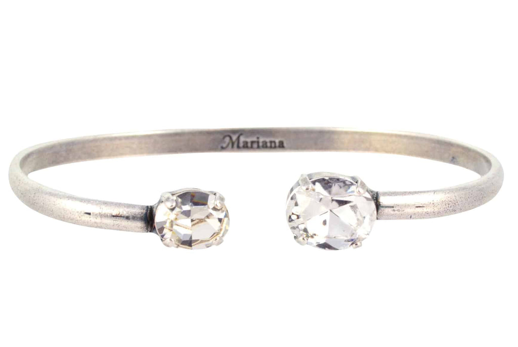 Mariana Jewelry On A Clear Day Oval Bangle Bracelet, Silver Plated with Swarovski Crystal 4603 001001