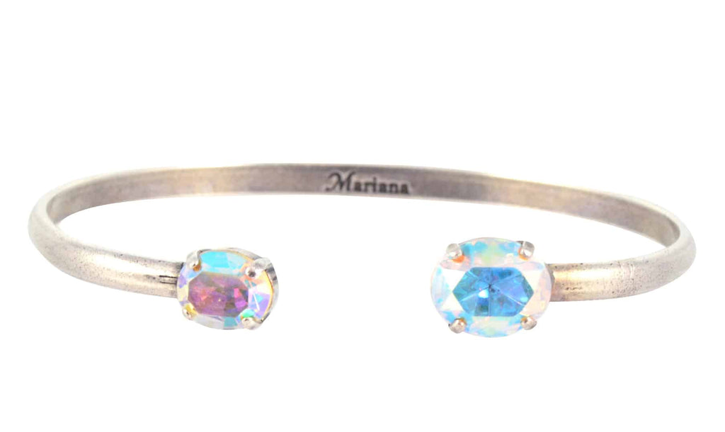 Mariana Jewelry On A Clear Day Oval Bangle Bracelet, Silver Plated with Aurora Boreale Swarovski Crystal 4603 001AB