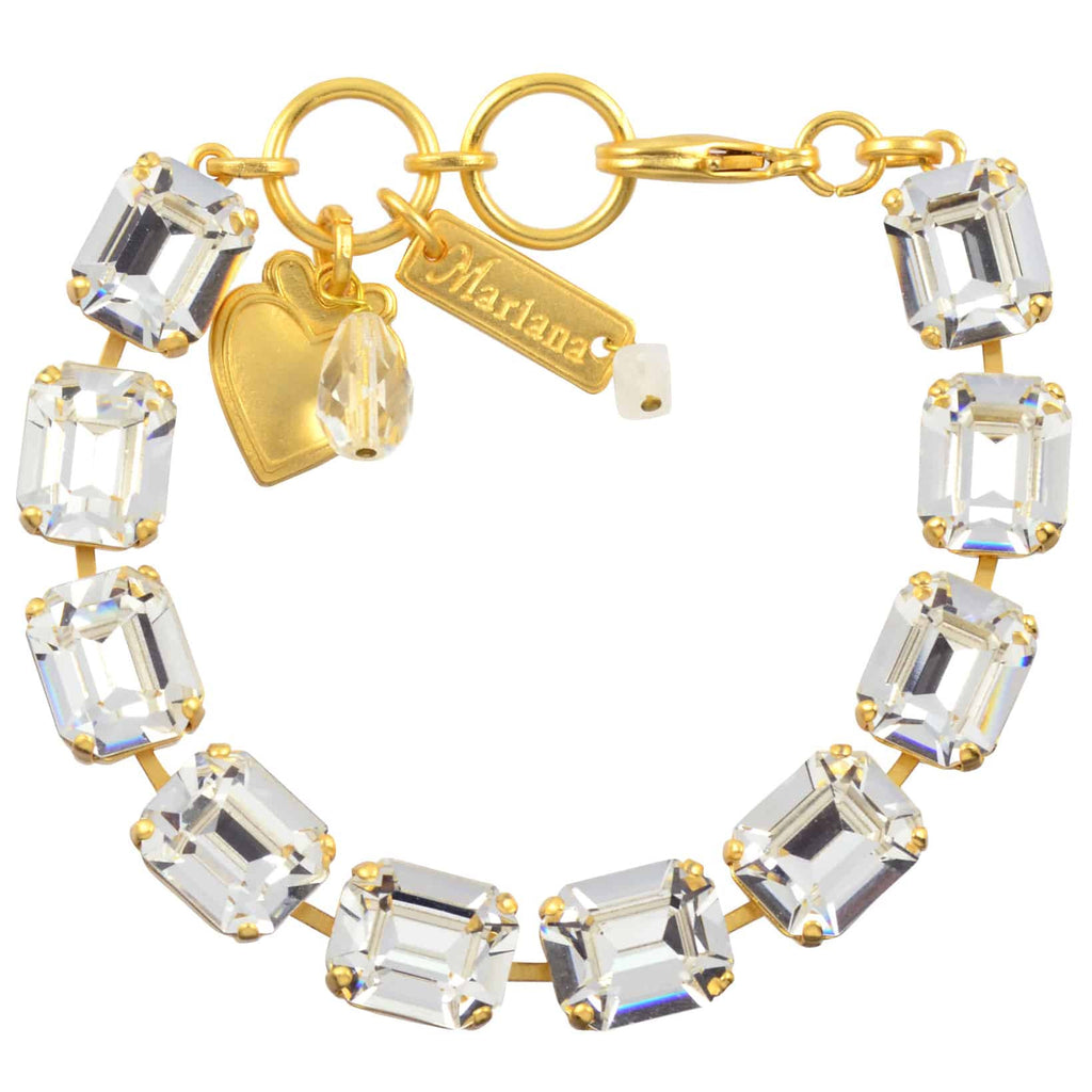 Mariana Jewelry On A Clear Day Rectangle Tennis Bracelet, Gold Plated with Swarovski Crystal, 8 4414 001001