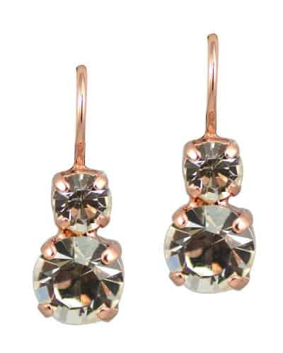 Mariana Jewelry On A Clear Day Rose Gold Plated Petite Round Swarovski Crystal Drop Earrings in Clear Crystal