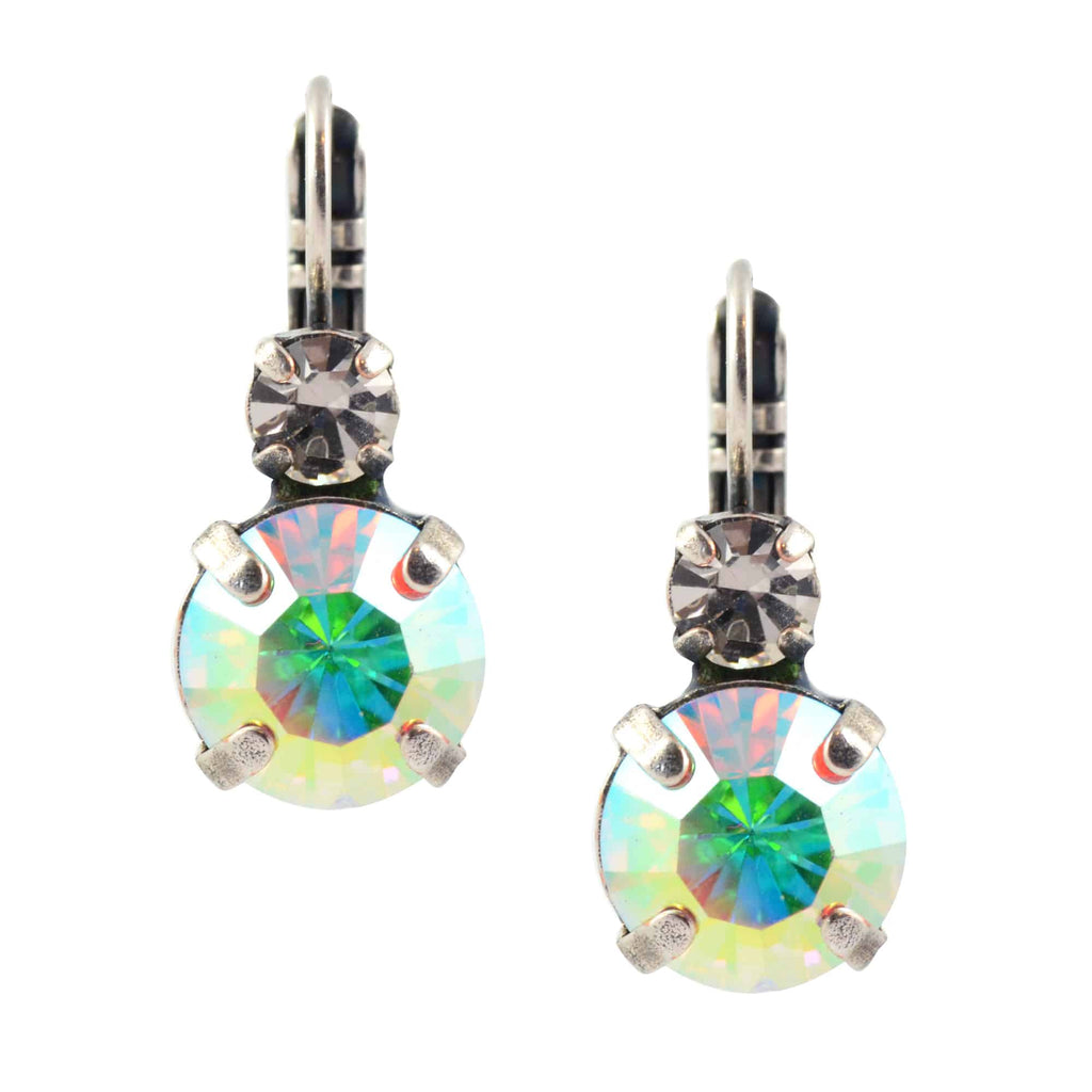 Mariana Jewelry On A Clear Day Round Drop Earrings, Silver Plated with Aurora Boreale Swarovski Crystal 1037 001AB