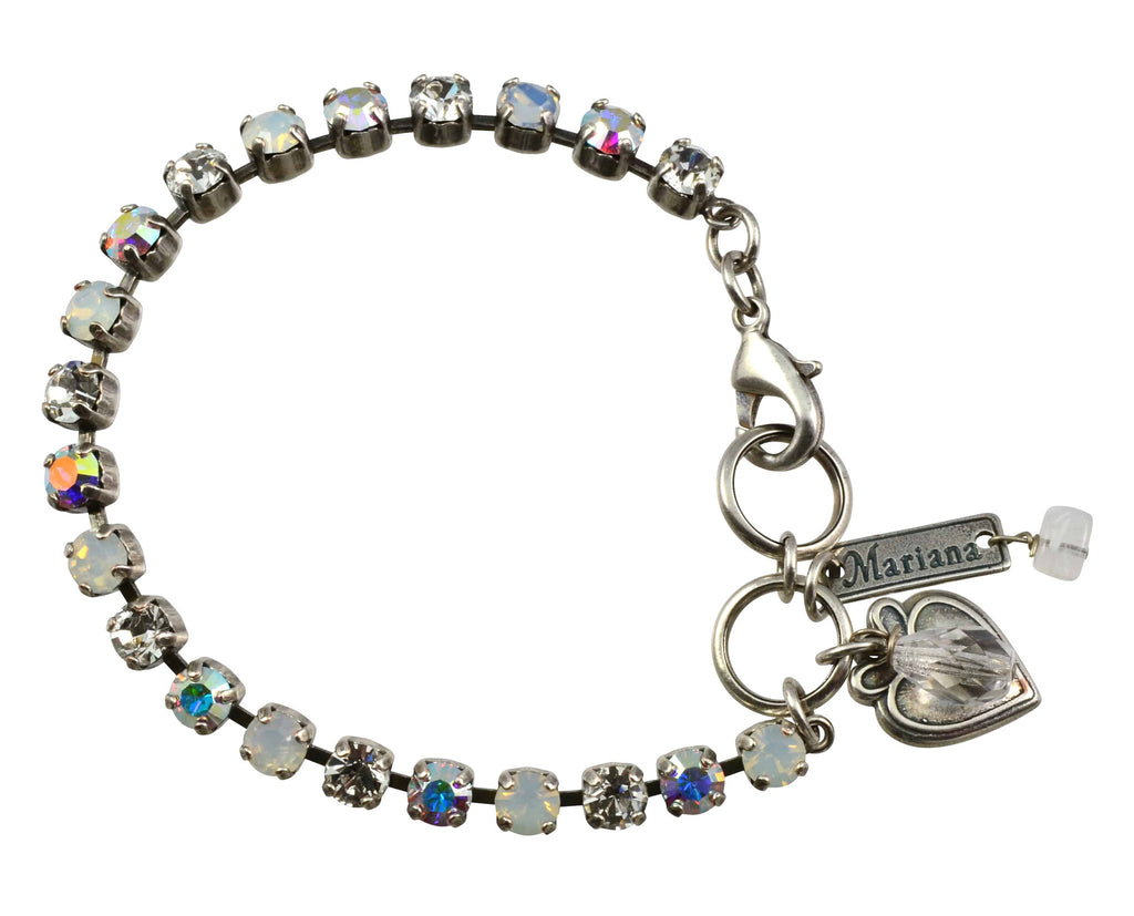 Mariana On A Clear Day Silver Plated Swarovski Crystal Tennis Bracelet with Heart Pendant, 8