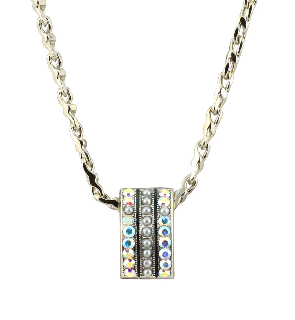 Mariana Jewelry On A Clear Day Silver Plated Swarovski Crystal Curved Cross Rectangle Pendant Necklace, 18+4