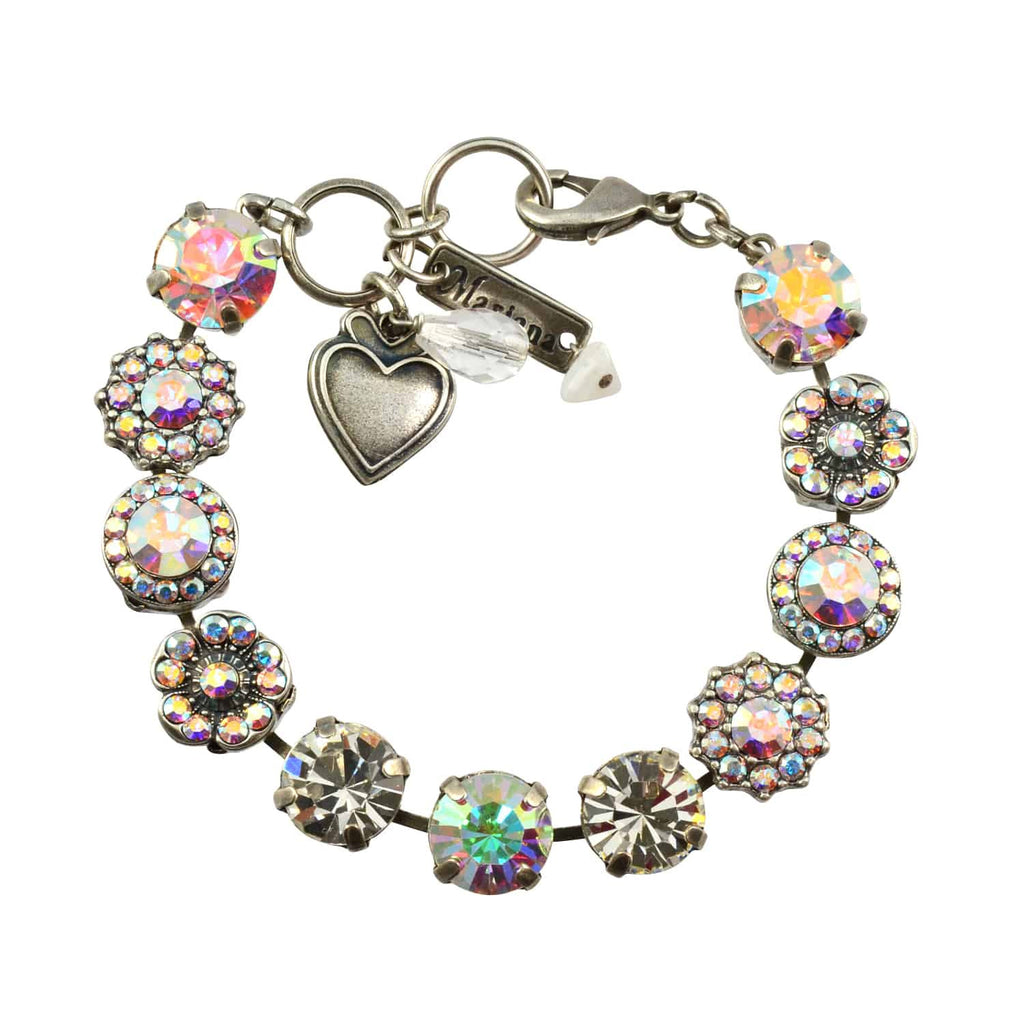 Mariana Jewelry On A Clear Day Silver Plated Swarovski Crystal Large Gem Tennis Bracelet with Heart, 8