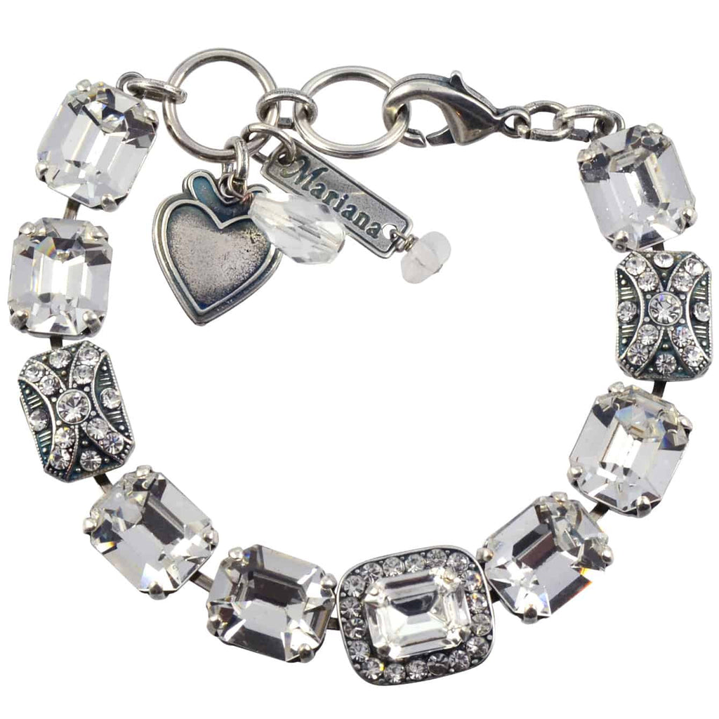 Mariana Jewelry On A Clear Day Silver Plated Swarovski Crystal Rectangle Tennis Bracelet with Heart Pendant