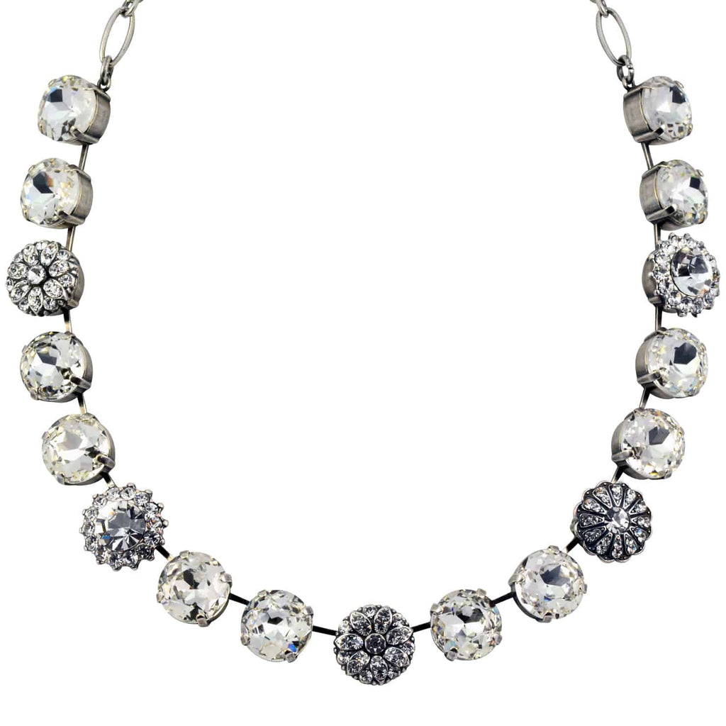 Mariana Jewelry On A Clear Day Silver Plated Swarovski Crystal Round Necklace with Guardian Angel Accents, 18
