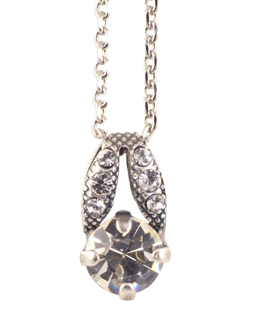 Mariana Jewelry On A Clear Day Small Round Pendant Necklace, Silver Plated with Swarovski Crystal, 14+4 5435 001001