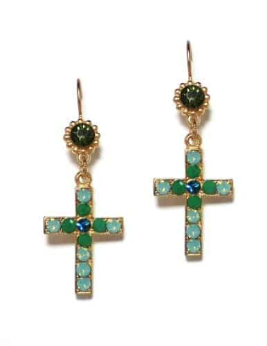 Mariana Jewelry Angelica Gold Plated Swarovski Crystal Jewel and Cross Dangle Earrings