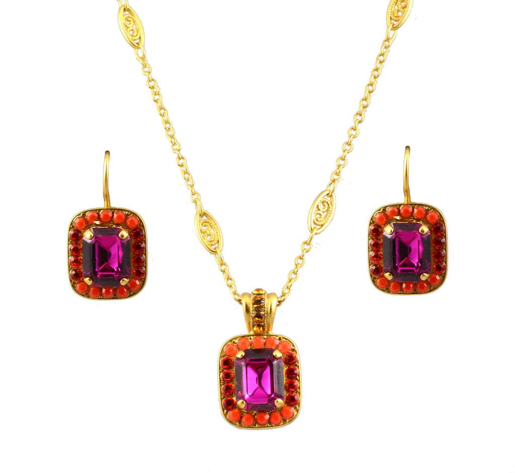 Mariana Angelina Necklace and Earrings Set With Gold Plated Rectangle Swarovski Crystal