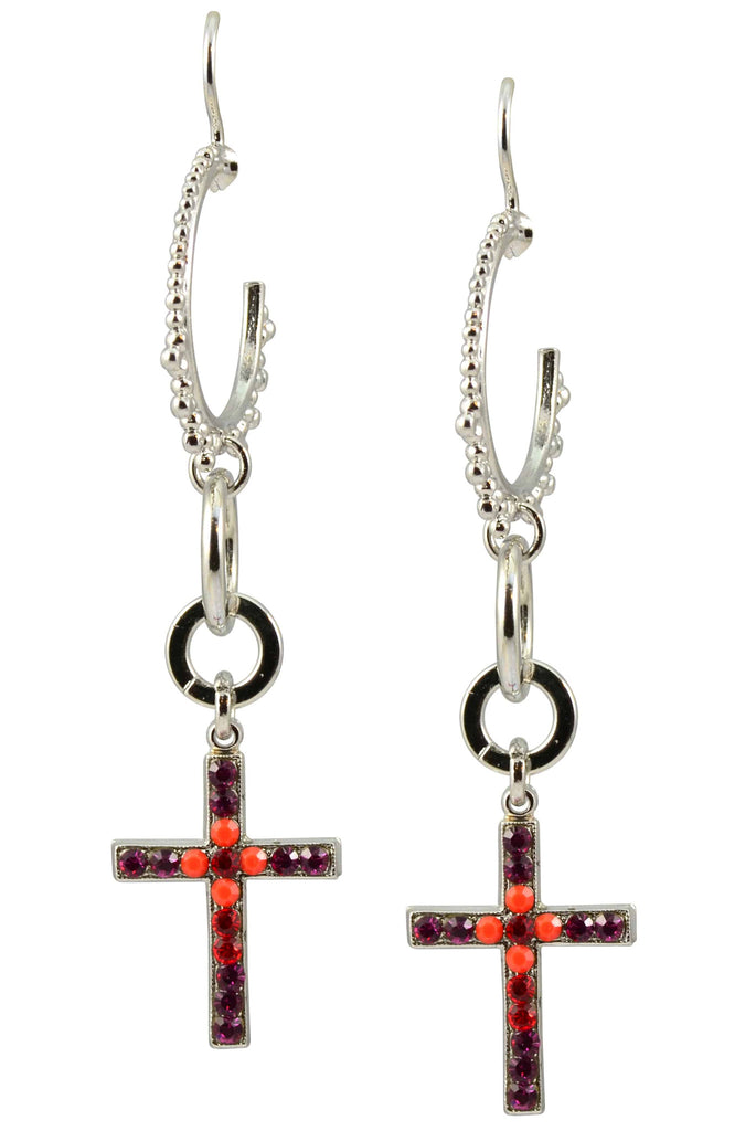 Mariana Jewelry Angelina Silver Plated Swarovski Crystal Crescent Moon and Cross Earrings