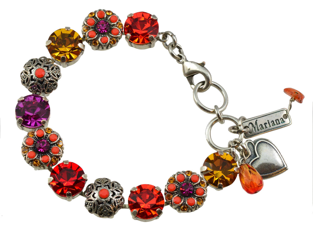 Mariana Jewelry Angelina Silver Plated Filigree Flower Swarovski Crystal Tennis Bracelet
