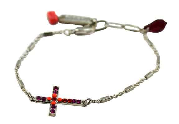 Mariana Angelina Silver Plated Swarovski Crystal Sideways Cross Bracelet
