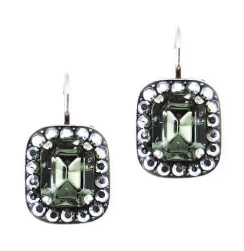 Mariana Jewelry Black Diamond Silver Plated Rectangle Swarovski Crystal Drop Earrings