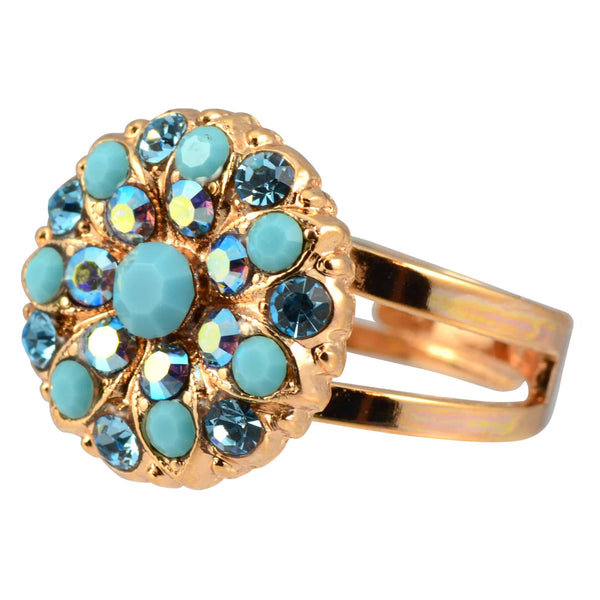 Mariana Bliss Rose Gold Plated Swarovski Crystal Chrystanthemum Flower Adjustable Ring