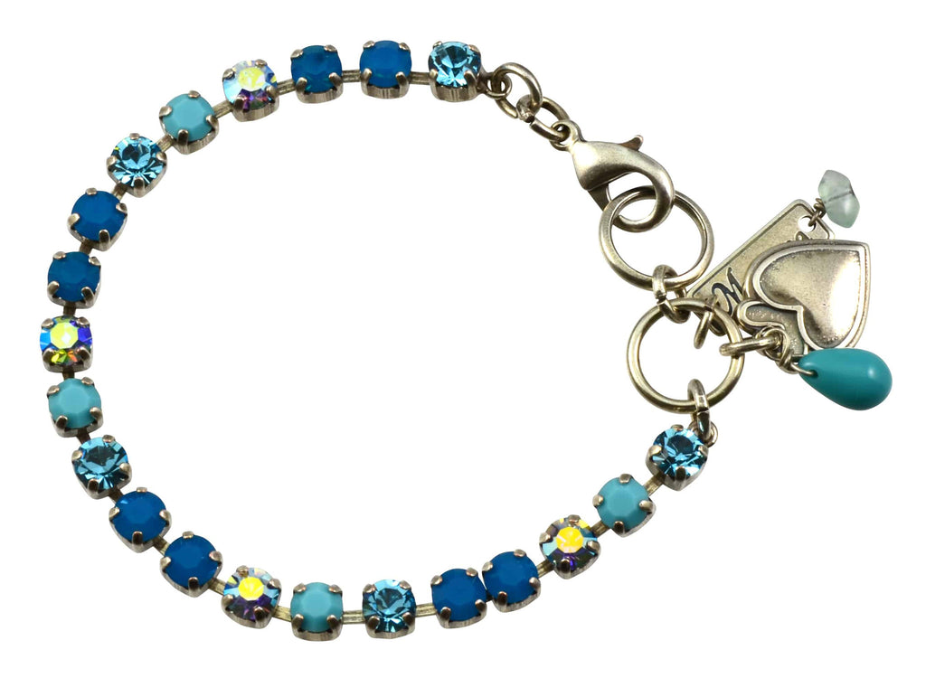 Mariana Jewelry Blue Lagoon Silver Plated Swarovski Crystal Tennis Bracelet with Heart Pendant, 8