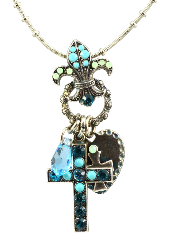 Mariana Jewelry Blue Lagoon Silver Plated Swarovski Crystal Cross/Fleur de Lis Necklace
