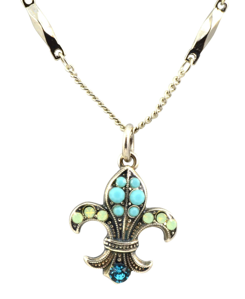 Mariana Jewelry Blue Lagoon Silver Plated Swarovski Crystal Fleur de Lis Pendant Necklace