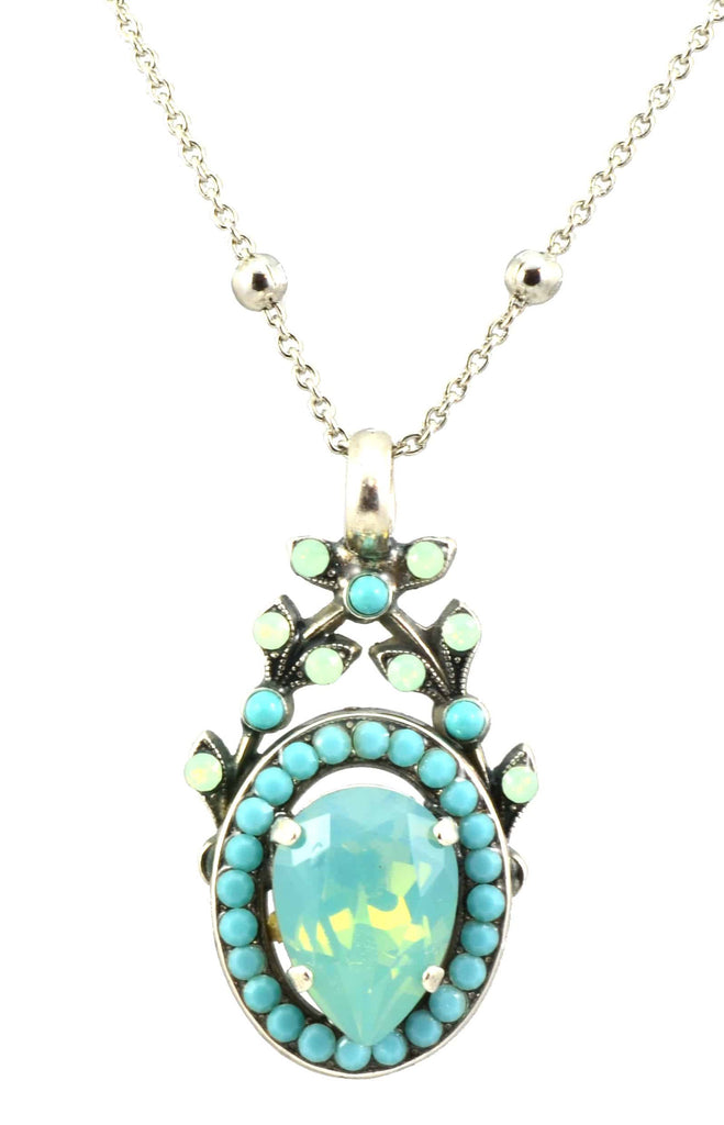 Mariana Jewelry Blue Lagoon Silver Plated Swarovski Crystal Pendant Necklace, 22+4
