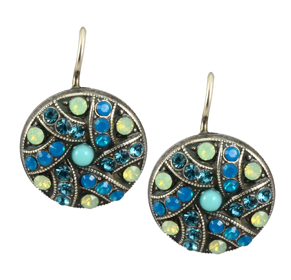 Mariana Jewelry Blue Lagoon Silver Plated Swarovski Crystal Shield Drop Earrings