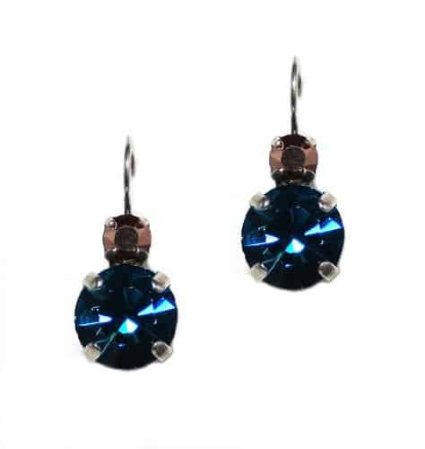 Mariana Jewelry Blue Suede Shoes Silver Plated Petite Round Swarovski Crystal Drop Earrings