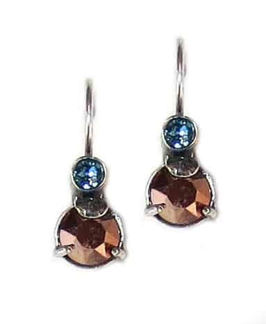 Mariana Blue Suede Shoes Silver Plated Petite Round Swarovski Crystal Drop Earrings
