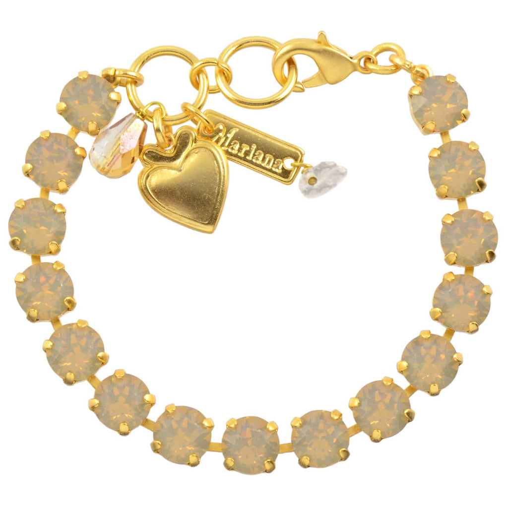 Mariana Jewelry Tennis Bracelet, Gold Plated with Sand Opaque Swarovksi Crystal, 8 4252 287287