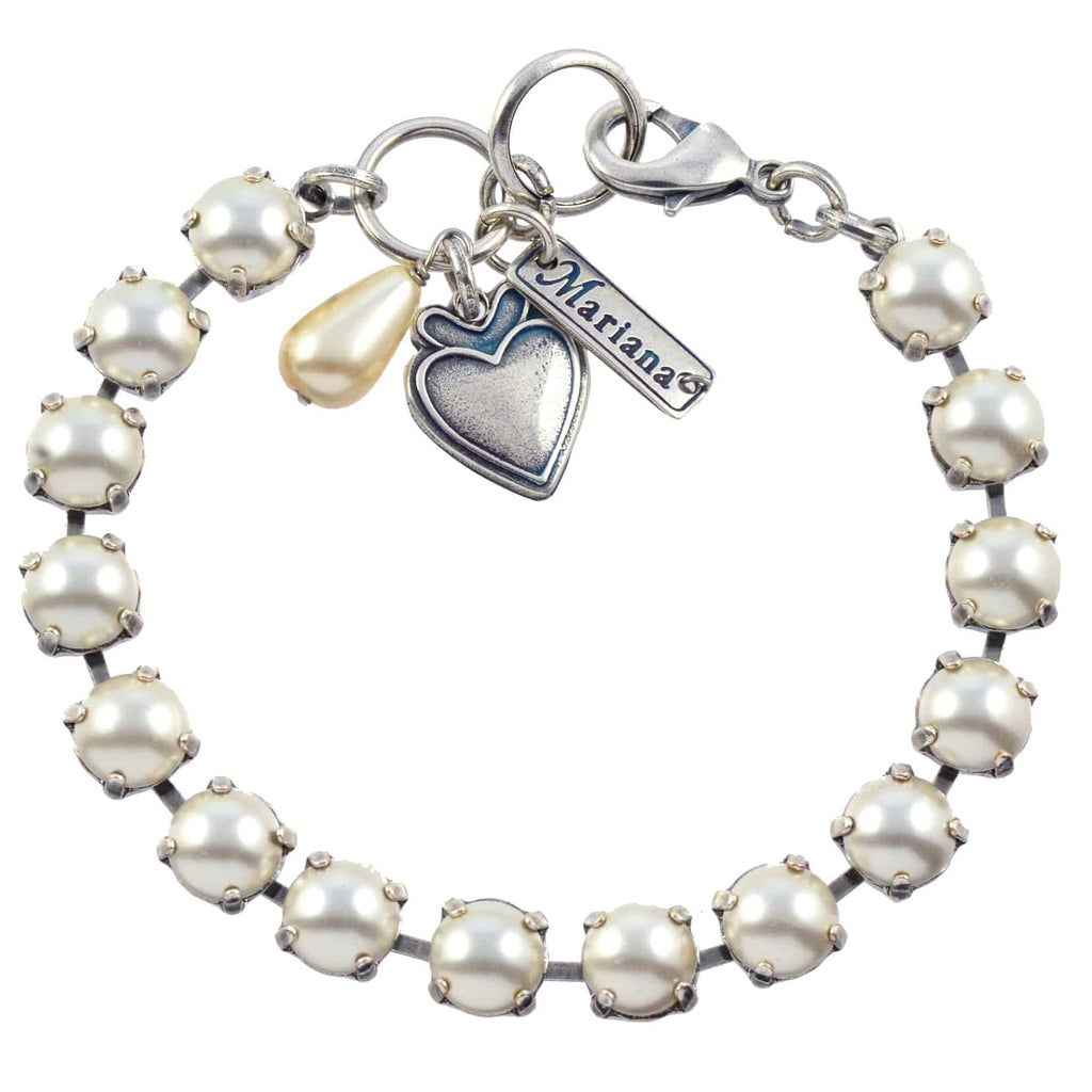 Mariana Jewelry Tennis Bracelet, Silver Plated with Frost Swarovksi Crystal, 8 4252 139