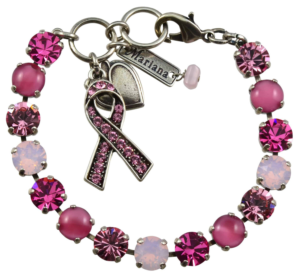 Mariana Jewelry Breast Cancer Awareness Silver Plated Swarovski Crystal Tennis Bracelet, 8