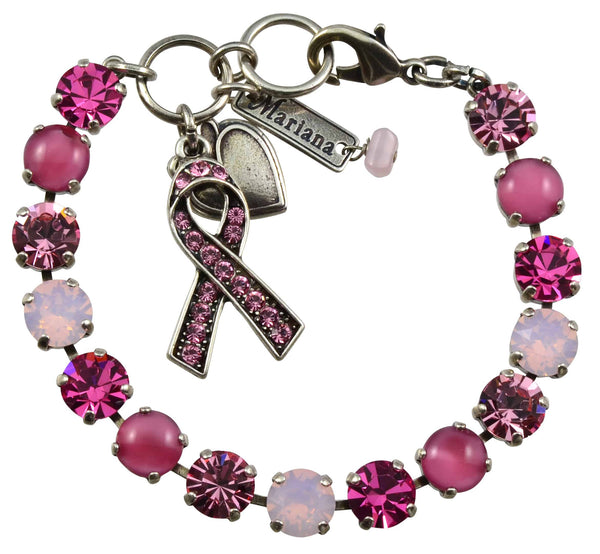 Mariana Breast Cancer Awareness Silver Plated Swarovski Crystal Tennis Bracelet, 8