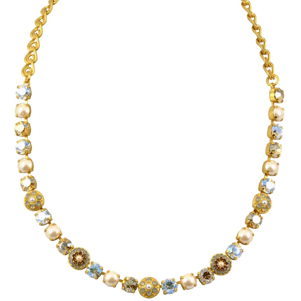 Mariana Champagne and Caviar Gold Plated Swarovski Crystal Flower Necklace, 18
