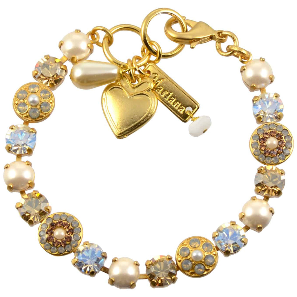 Mariana Champagne and Caviar Gold Plated Swarovski Crystal Round Jewel Tennis Bracelet with Heart Pendant, 8