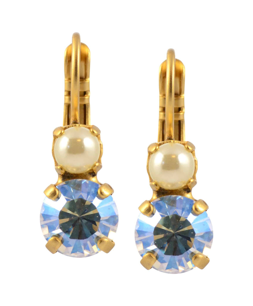 Mariana Champagne and Caviar Petite Round Drop Earrings, Gold Plated with Swarovski Crystal 1190 3911
