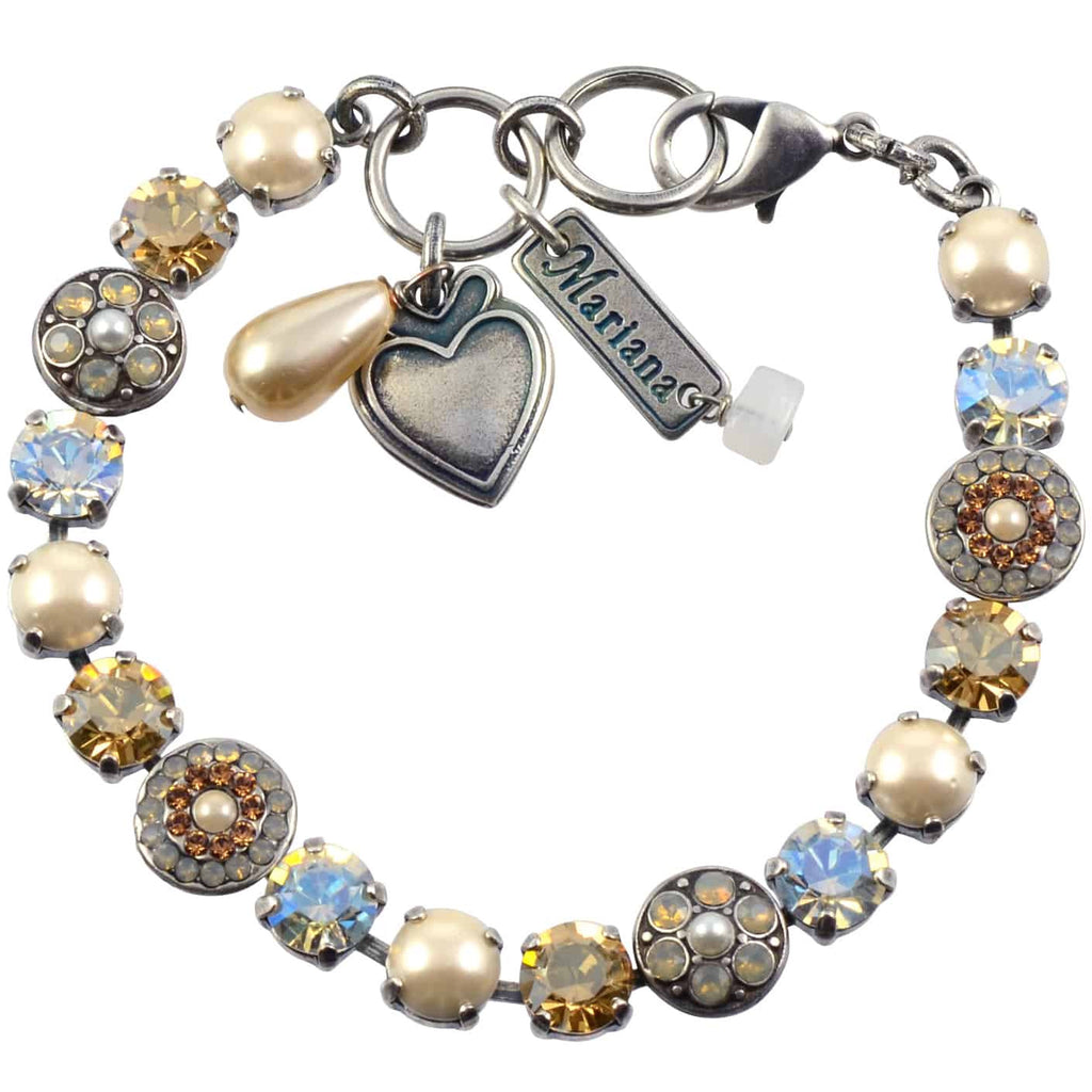 Mariana Champagne and Caviar Silver Plated Swarovski Crystal Round Jewel Tennis Bracelet with Heart Pendant, 8