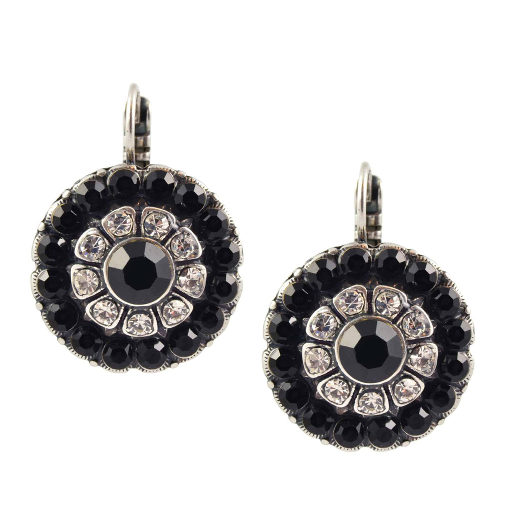 Mariana Jewelry Checkmate Large Round Drop Earrings, Silver Plated with Swarovski Crystal 1131/1 280-1
