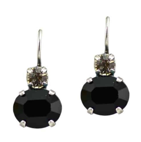 Mariana Jewelry Checkmate Silver Plated Oval Swarovski Crystal Drop Earrings in Clear Crystal and Jet