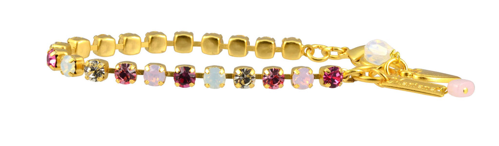 Mariana Jewelry Cherry Blossom Gold Plated Swarovski Crystal Tennis Bracelet with Heart Pendant, 8