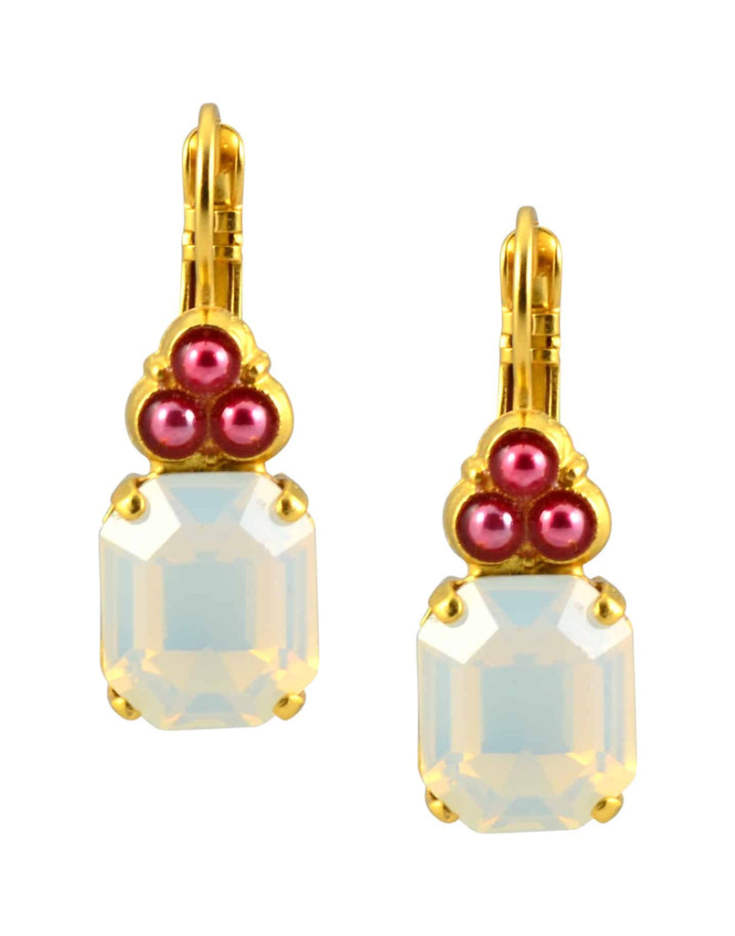 Mariana Jewelry Cherry Blossom Gold Plated Swarovski Crystal Rectangle Cluser Drop Earrings