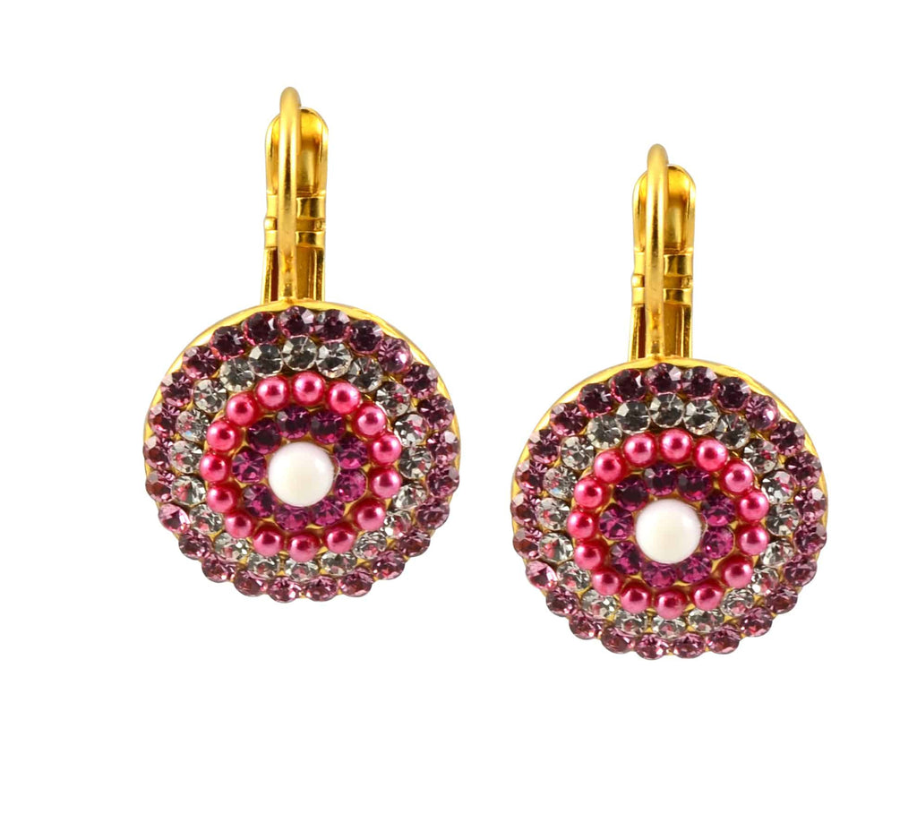 Mariana Jewelry Cherry Blossom Gold Plated Swarovski Crystal Rondelle Drop Earrings