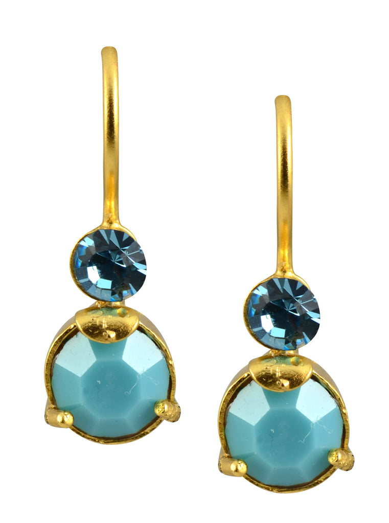 Mariana Jewelry Cindy Gold Plated Petite Round Swarovski Crystal Drop Earrings