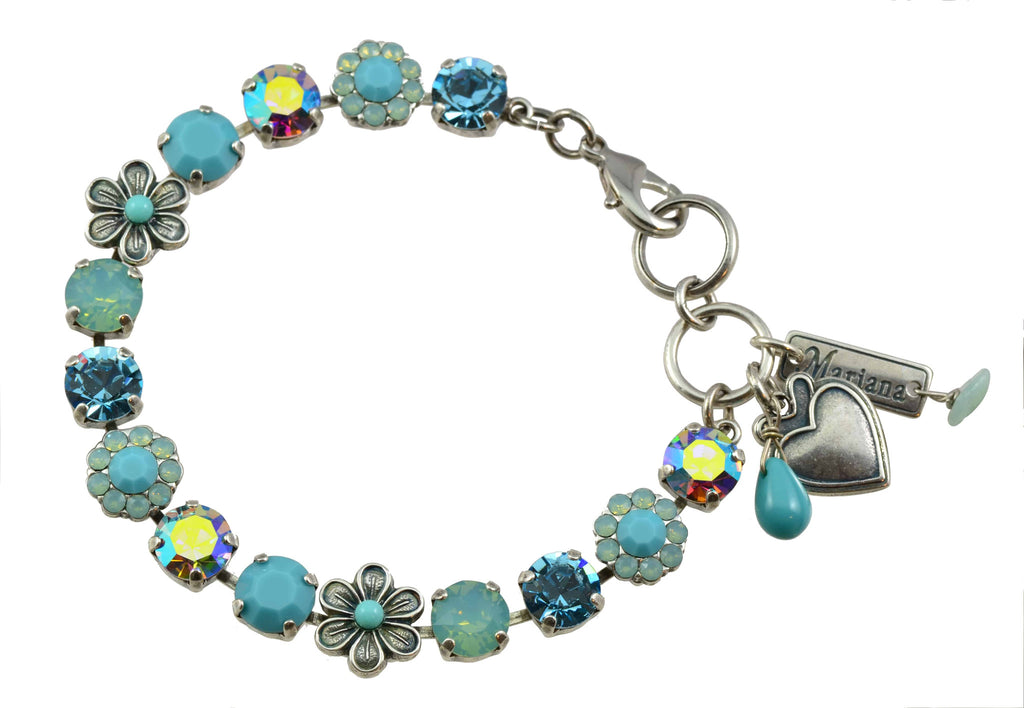 Mariana Jewelry Cindy Silver Plated Swarovski Crystal Flower Petal Tennis Bracelet with Heart Pendant