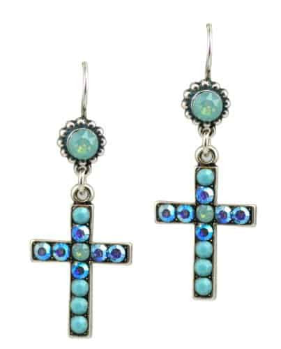 Mariana Jewelry Cindy Silver Plated Swarovski Crystal Jewel and Cross Dangle Earrings