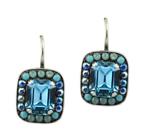 Mariana Jewelry Cindy Silver Plated Swarovski Crystal Rectangle Drop Earrings
