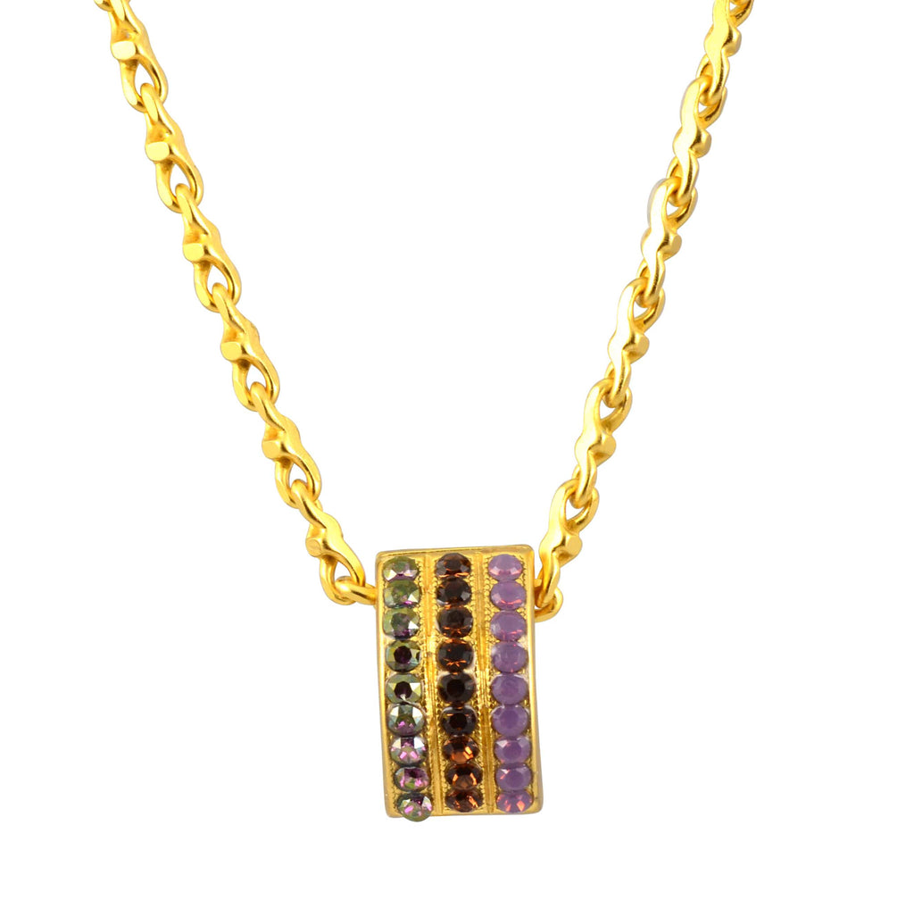 Mariana Jewelry Cinnamon Gold Plated Swarovski Crystal Curved Rectangle Pendant Necklace, 18+4