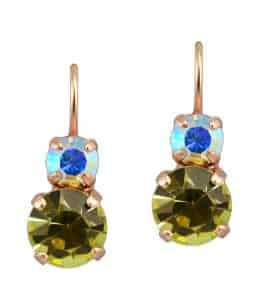 Mariana Jewelry Coco Matte Finish Rose Gold Plated Petite Round Swarovski Crystal Drop Earrings
